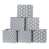 Black and White Modern Wave Pattern Cardboard Cube Storage Bin 6-Pack