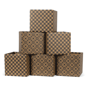 Star Pattern Modern Decorative Cardboard Storage Bin 6-Pack