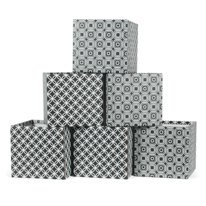 Black and White Star Pattern Cardboard Cube Storage Bin 6-Pack