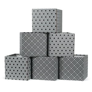 Black and White Diamond Pattern Modern Cardboard Storage Bin 6-Pack