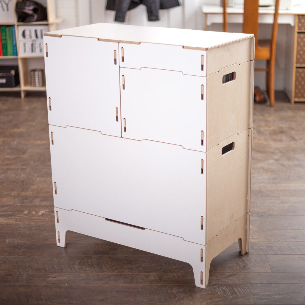 White Craft Storage Cabinet | Stackable Storage bins for Art Supplies