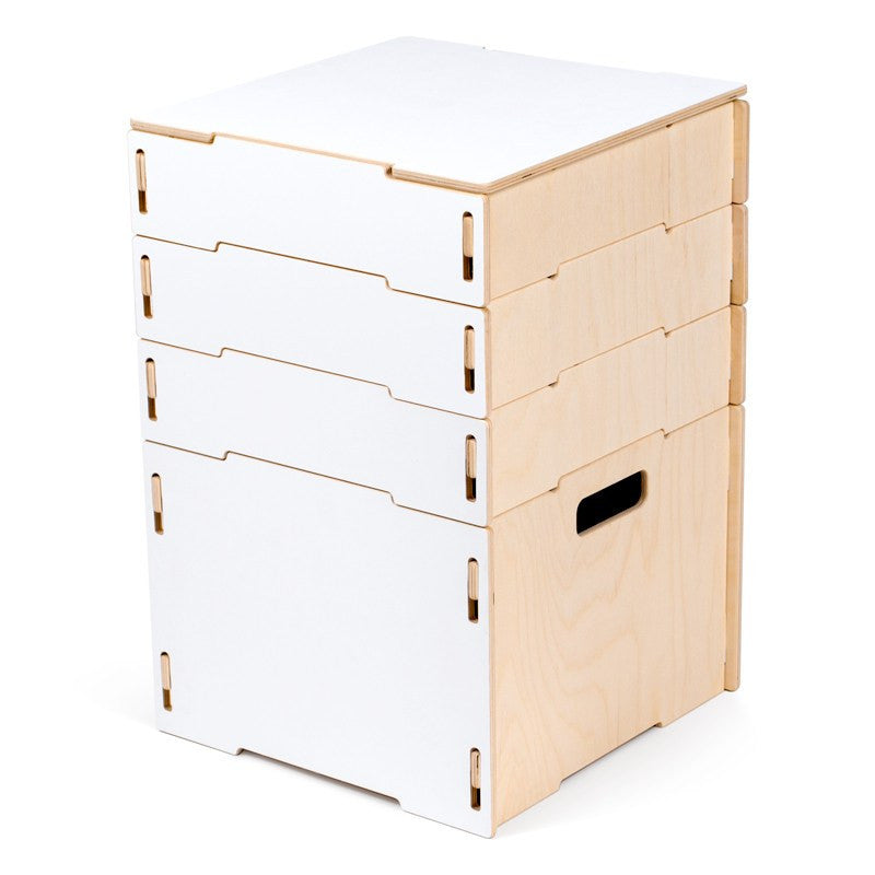 Two Toned White and Wooden Small Craft Storage Cabinet