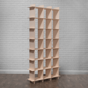 Tall Modern Wood Cube Bookcase