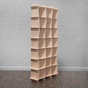 Tall Wave Wood Cube Bookcase
