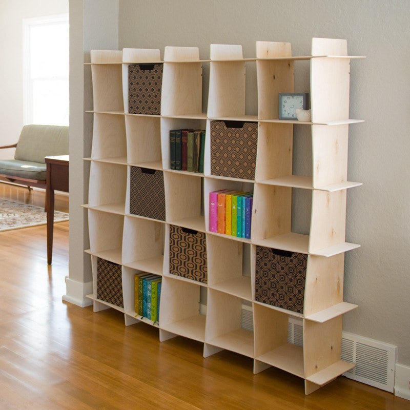 Wave Wood Modern Bookcase