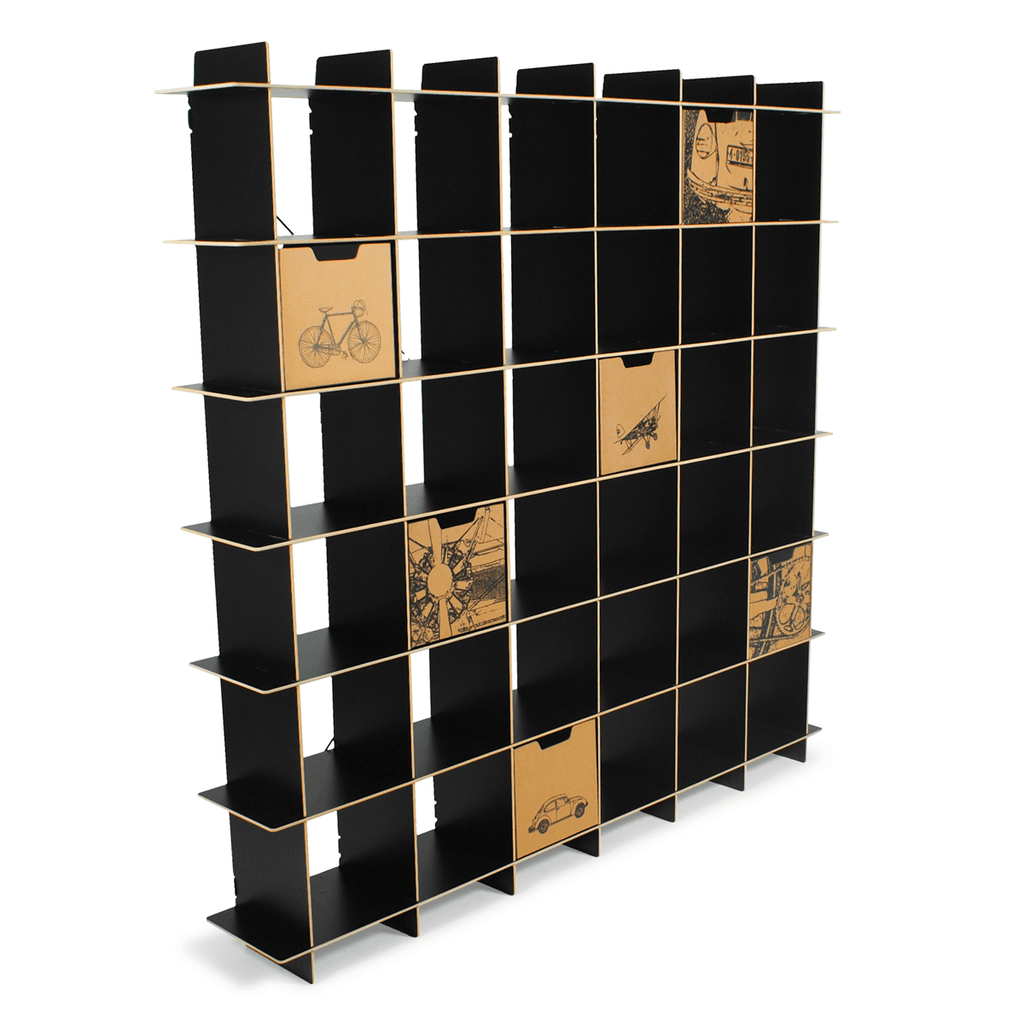 GR036-BLK with City Print Kids Storage Bins