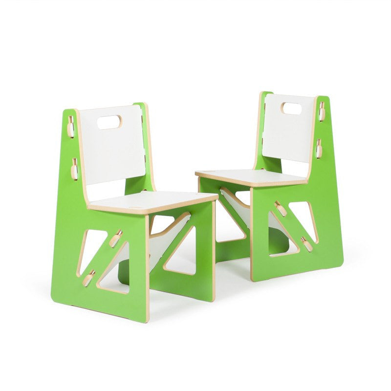 Two Modern Green Kids Chairs