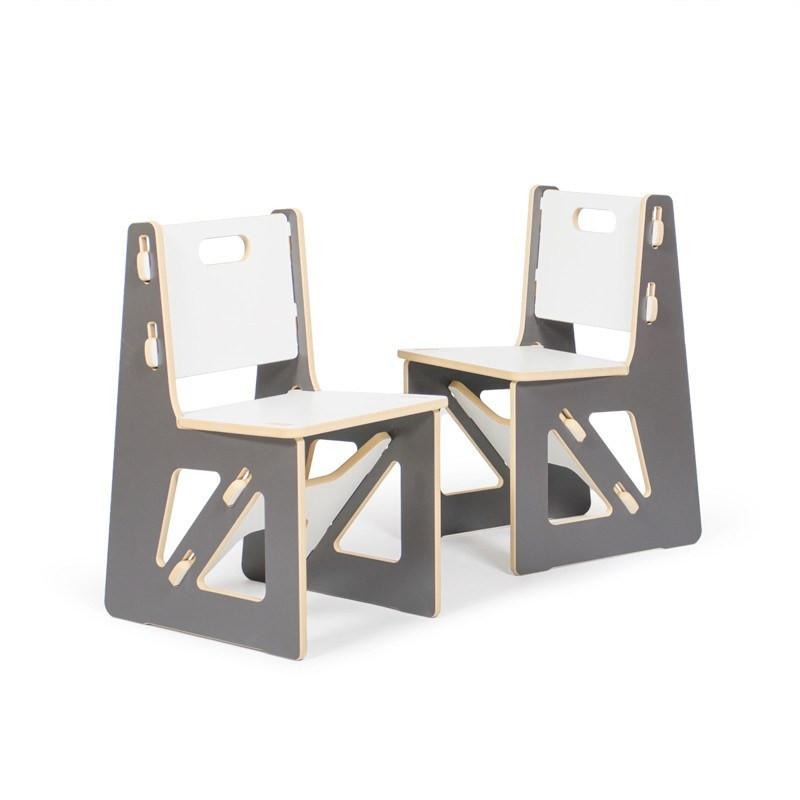 Two Modern Grey Kids Chairs
