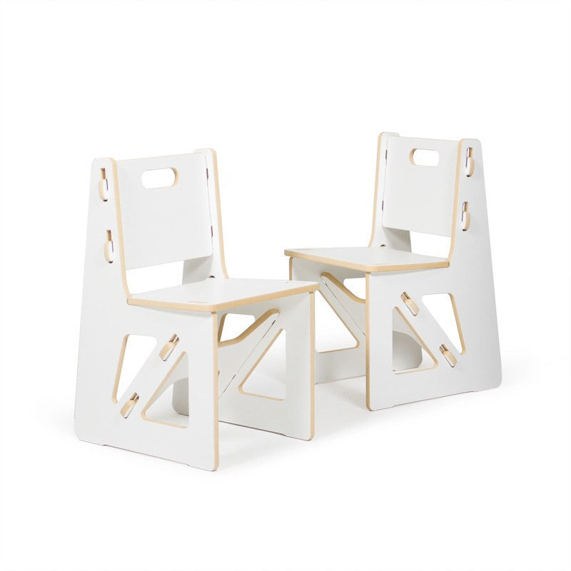 Two Modern White Kids Chairs