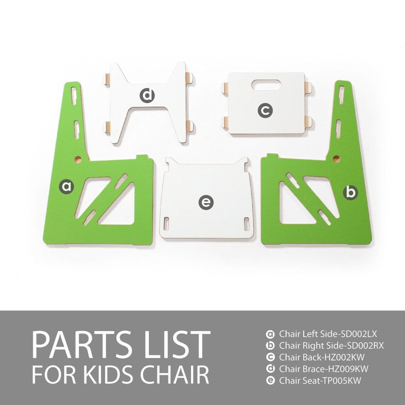 Parts List for Modern Wooden Green Kids Chair