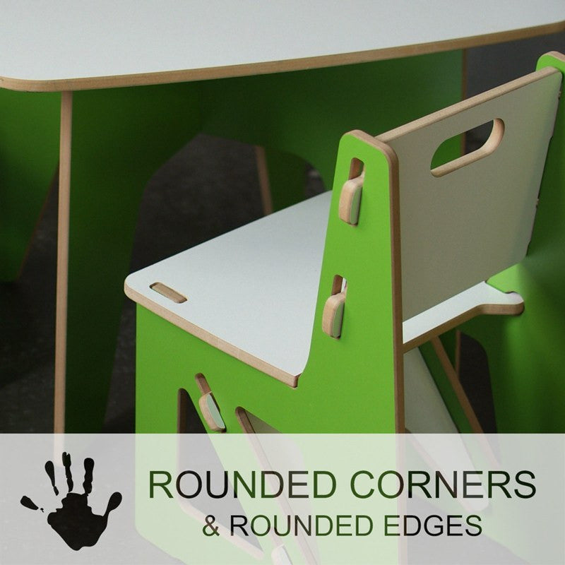 Safe Child Table and Chairs, Kid Friendly Wooden Table and Chairs with Rounded Corners and Edges