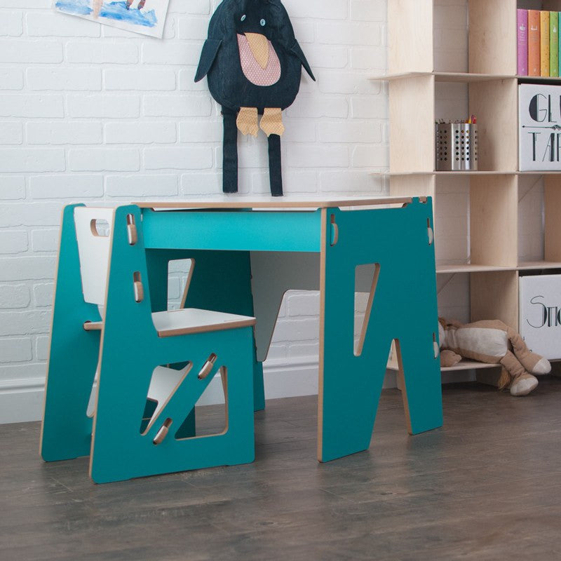 Modern Wooden Aqua Kids Desk and Chair With Storage