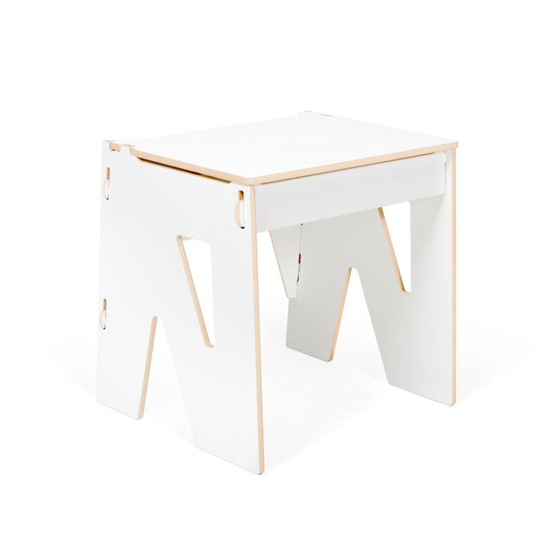 Modern White Wooden Desk, Child White Desk with Storage