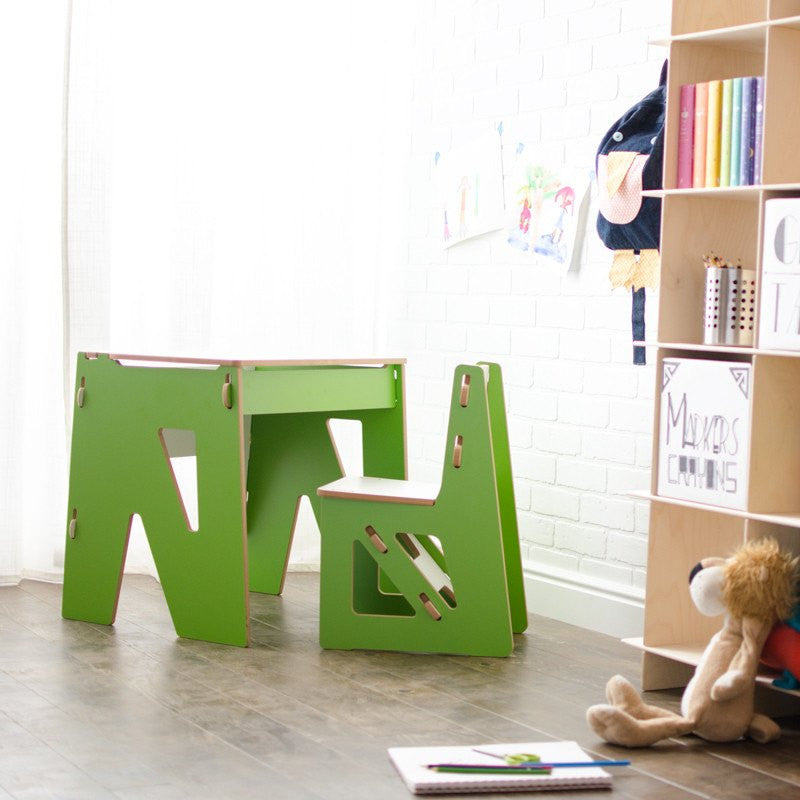Green Kids Modern Desk, Easy Assembly Child Desk and Chair