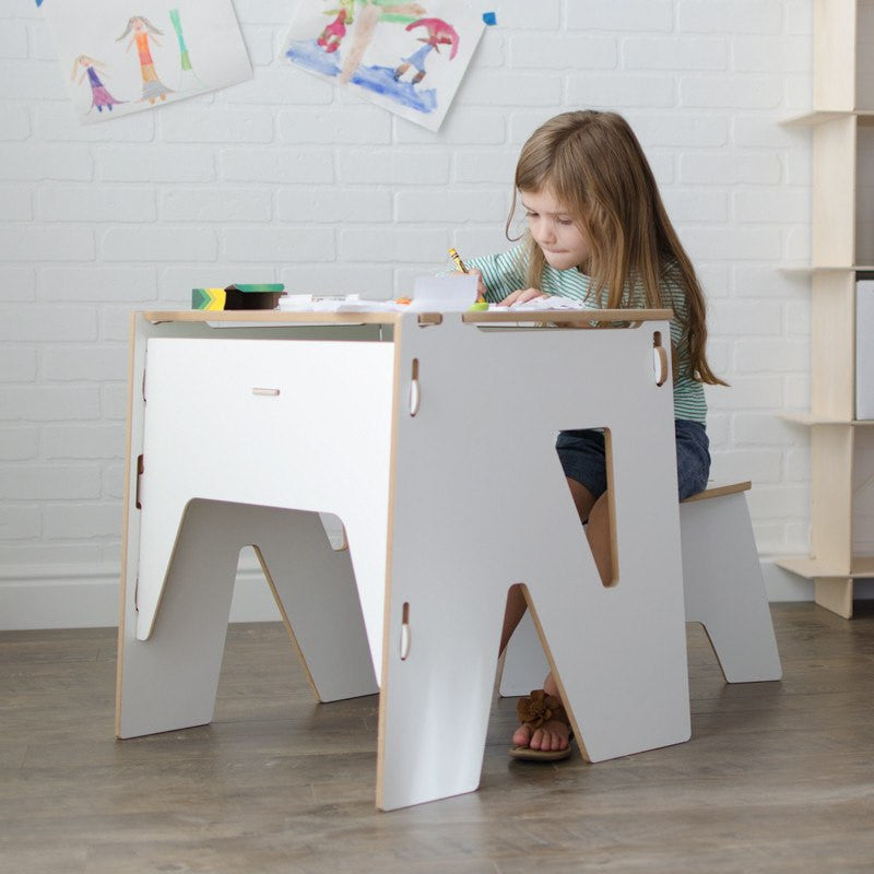 Wooden White Kids Study Desk | Kids Study Table with Storage