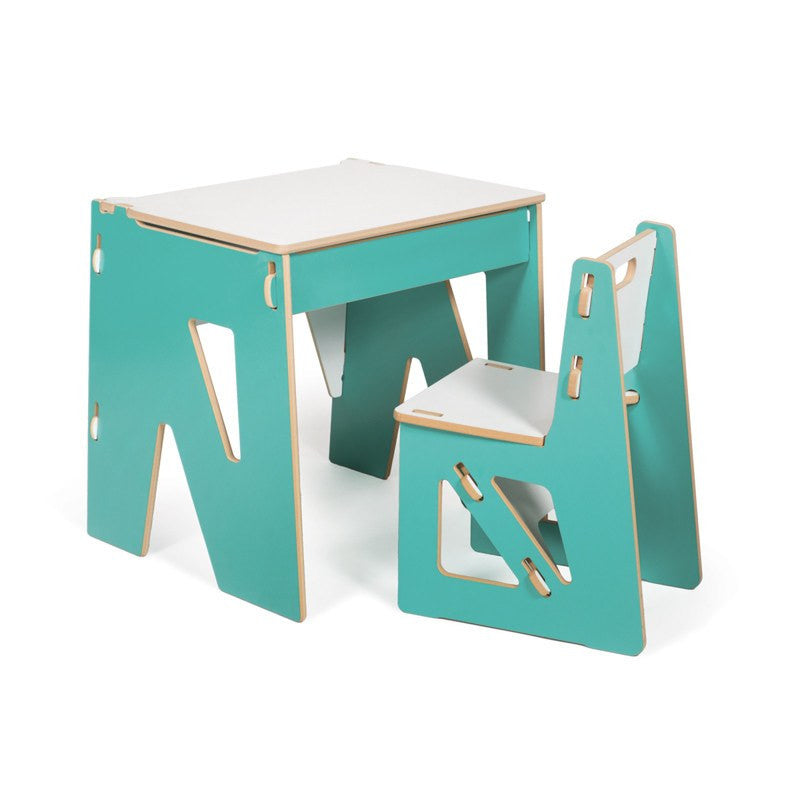 Aqua Childrens Desk with Storage and Chair
