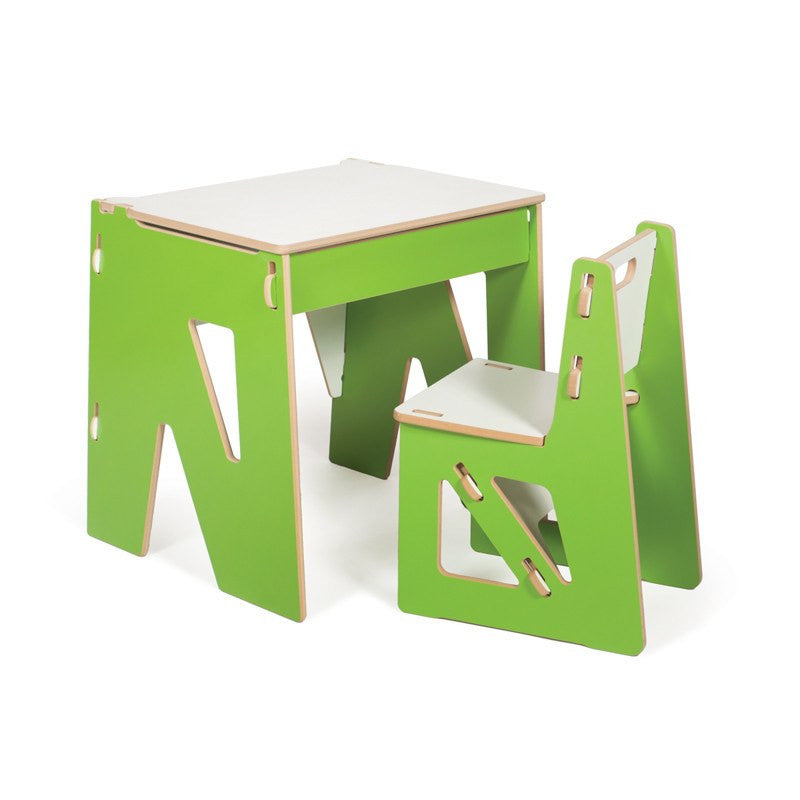 Green Modern Kids Desk and Chair with Storage