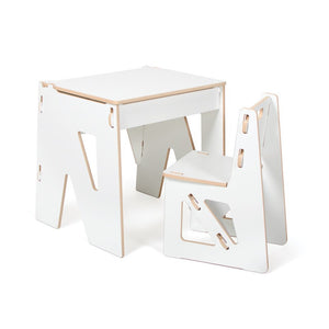 Kids White Desk and Chair With Storage