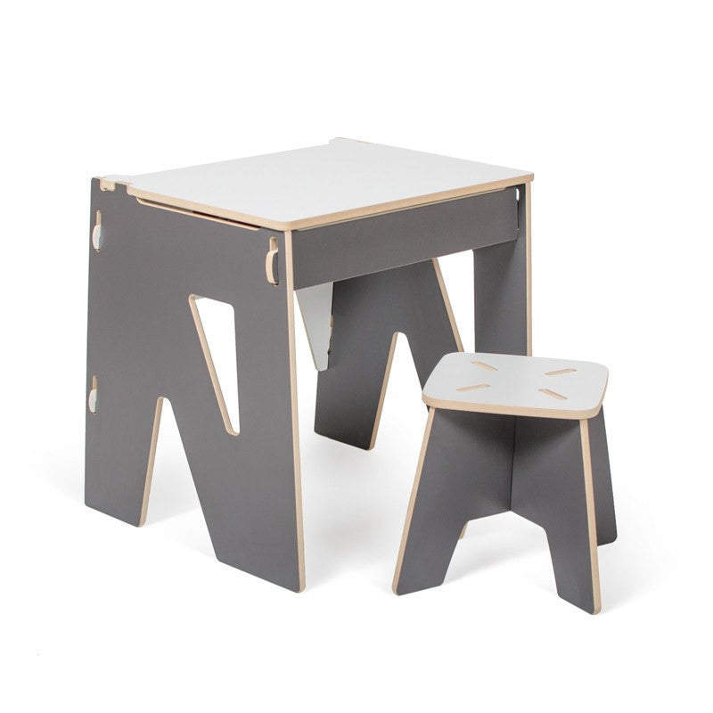 Grey Child Desk and Stool with Storage. Durable, Sturdy, Easy to Clean Kid Desk