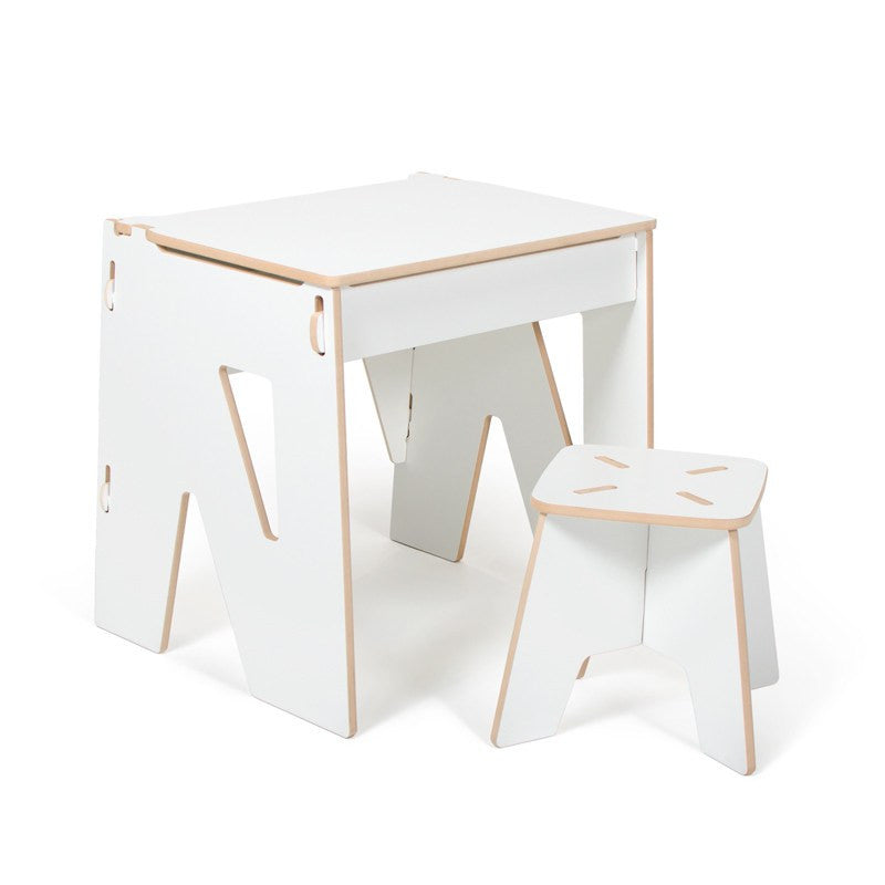 Wooden White Desk, Modern Kids Desk and Stool and Storage