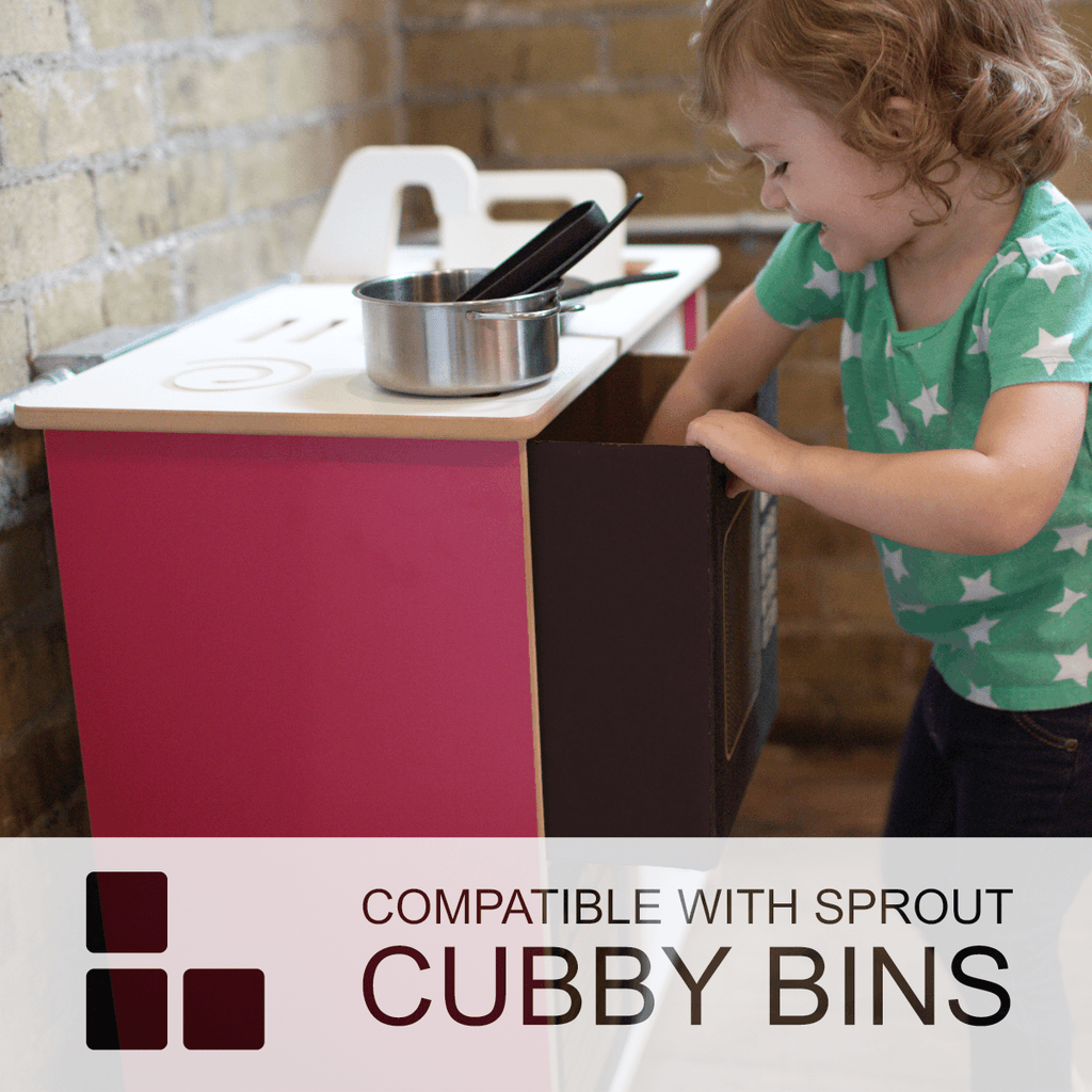 Cubby bins and kitchen set are compatible