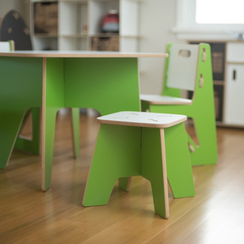 Modern Wooden Kids Stool with Green Kids Table and Chairs