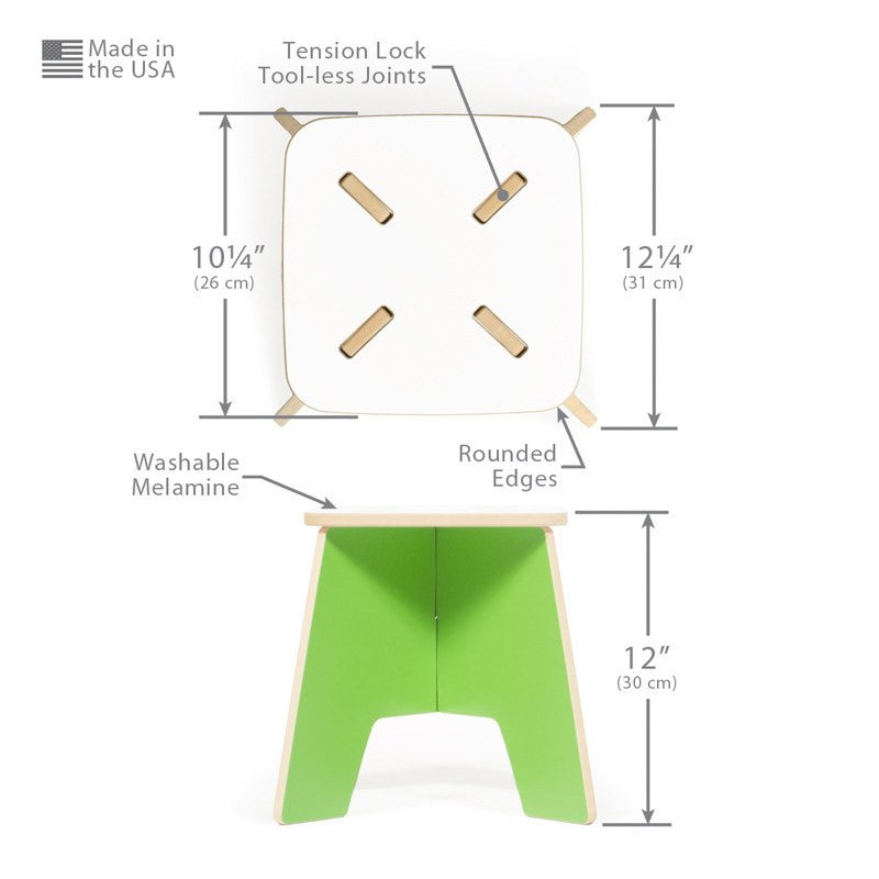 Dimensions for Green Kids Stool