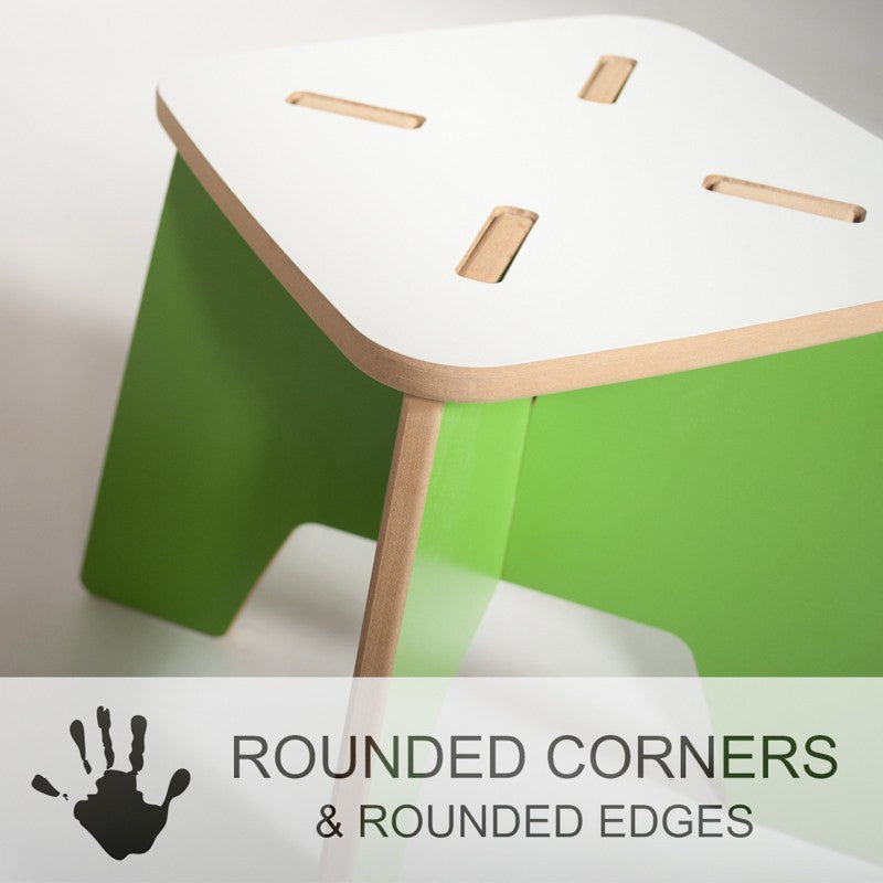 Green Child's Stool with Kid Safe Rounded Corners and Edges