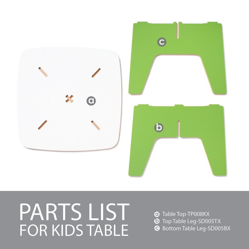 Parts List for Modern Wooden Green Kids Table