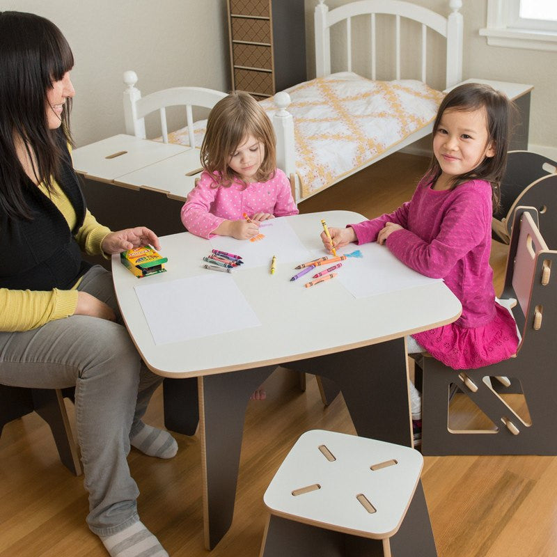 Grey Children Table and Chairs, Durable American Made Kids Art Table