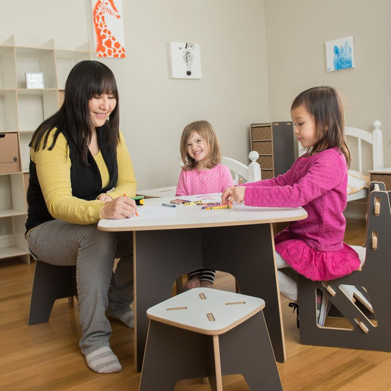 Modern Kids Chair with Kids Table and Stools