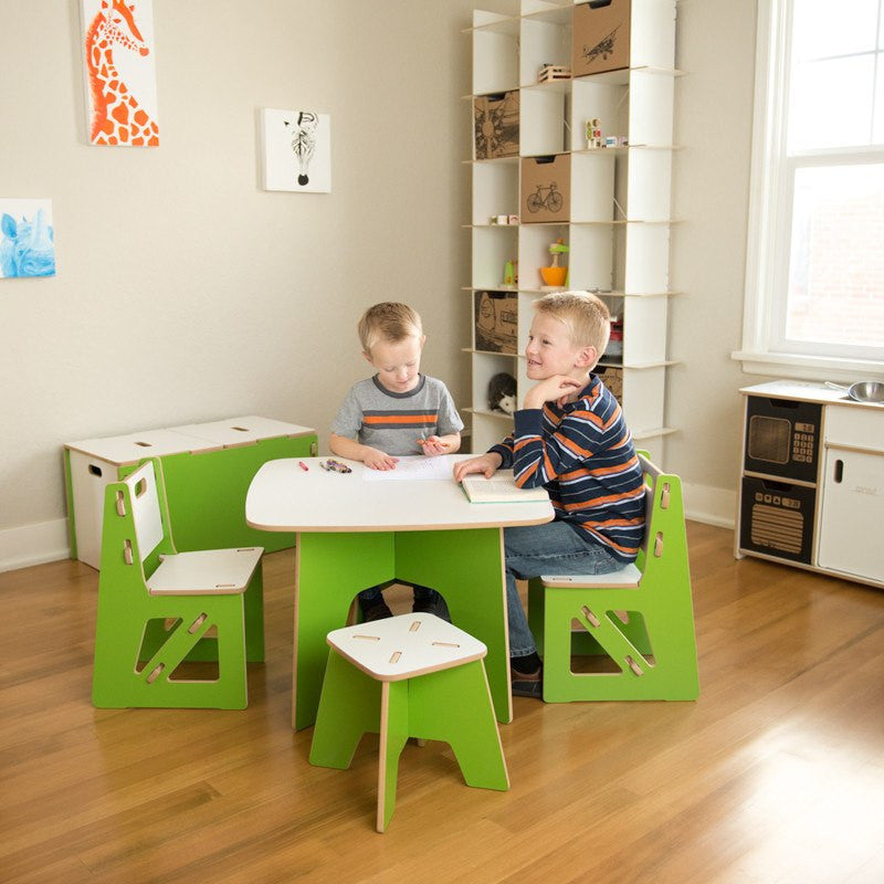 Green Wooden Kids Stool with Table and Chairs