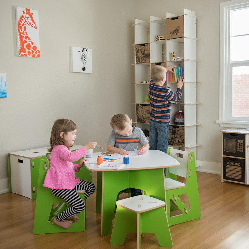 Children's Wooden Stool with Children's Table and Chairs