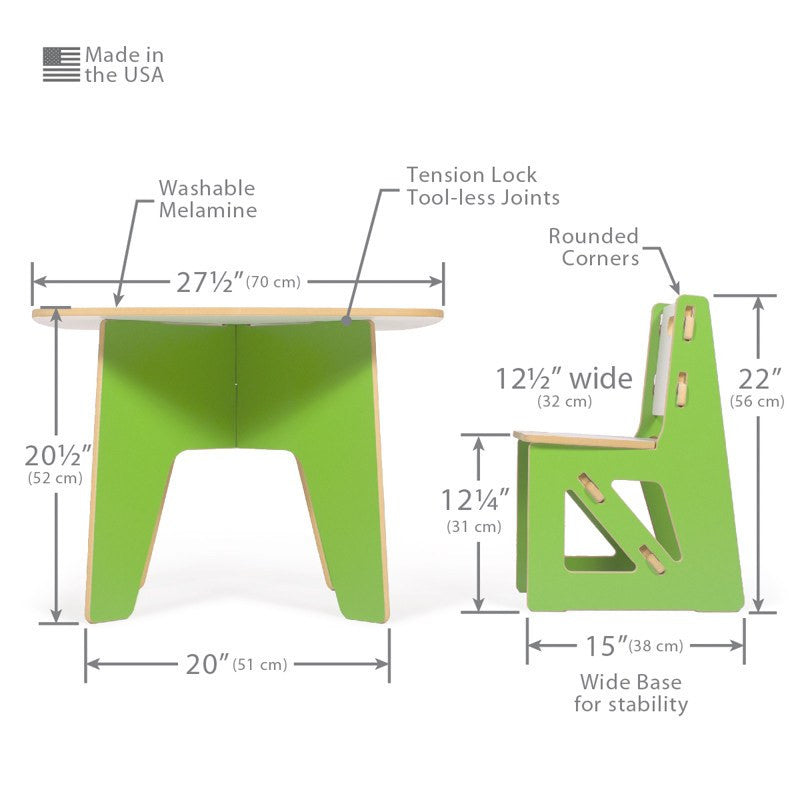 Dimensions for Modern Kids Table and Chair Set  sc 1 st  Sprout : kids table chair set - pezcame.com