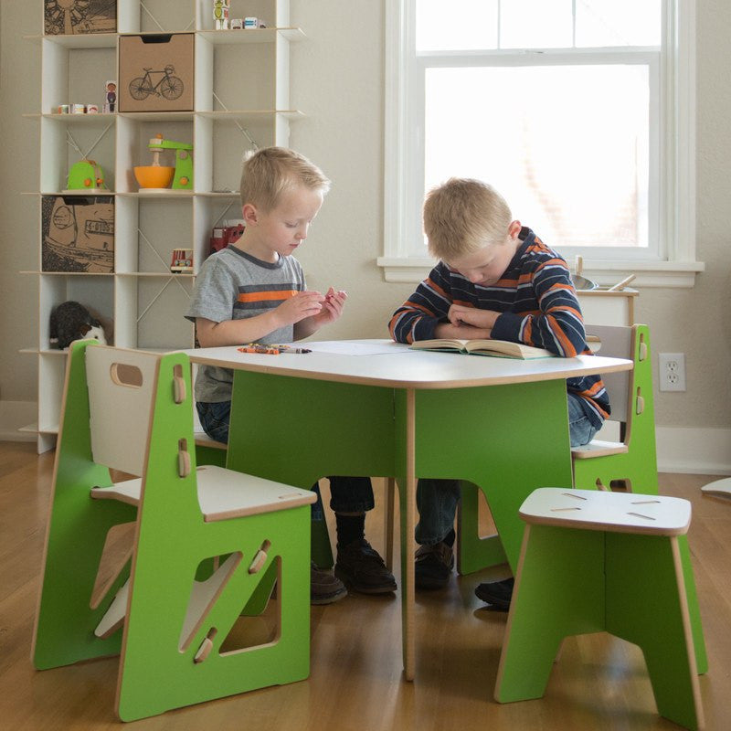 Green Kids Chairs with Kids Table and Stools
