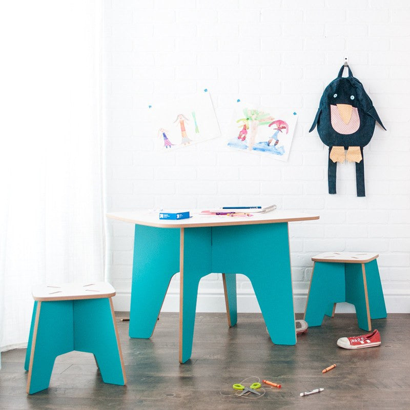 Aqua Study Table for Kids, with Stools