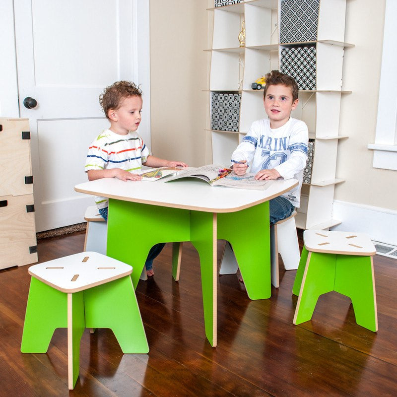 Modern Kids Study Table with Stools