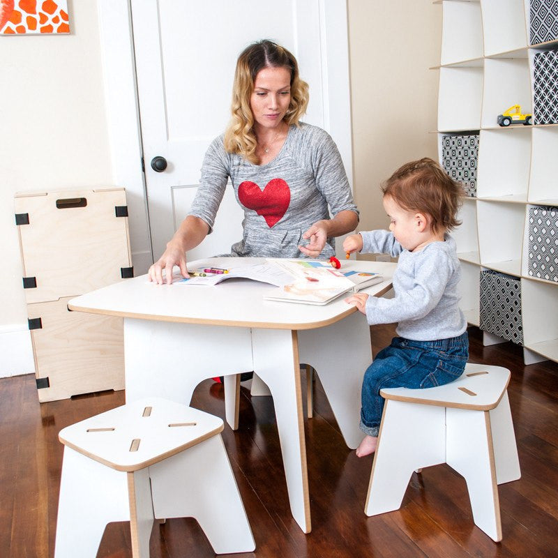 White Wooden Table and Stools, Family Play Table