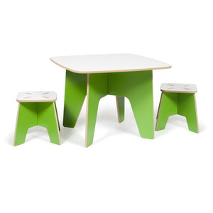 Green Toddler Table and Stools, Kids Folding Table and Chair Set