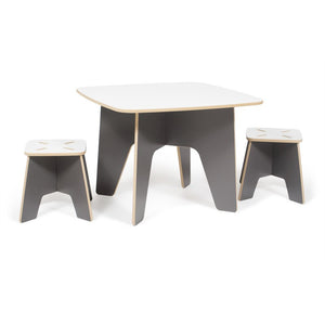 Grey Kids Table And Stools, Wooden Kids Table, American Made Kid Furniture