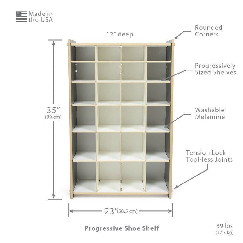 Dimensions of Progressive Modern Grey Shoe Cubby Storage