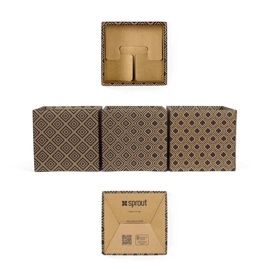 Diamond Pattern Modern Decorative Cardboard Storage Bin 6-Pack
