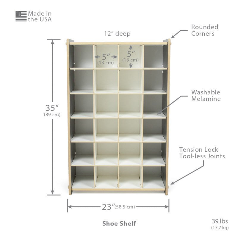 Dimensions of Standard Grey Wooden Shoe Organizer
