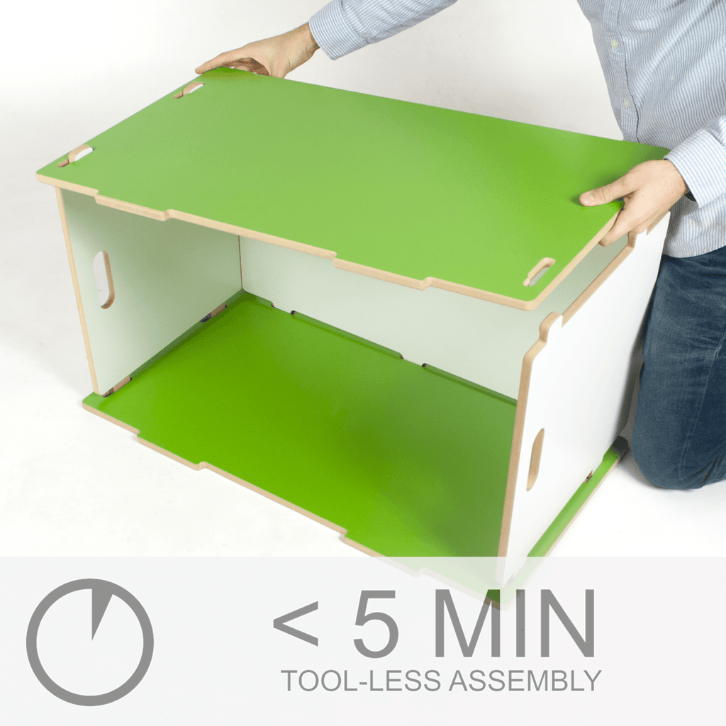 Modern Toy Box less than 5 minute tool-less assembly