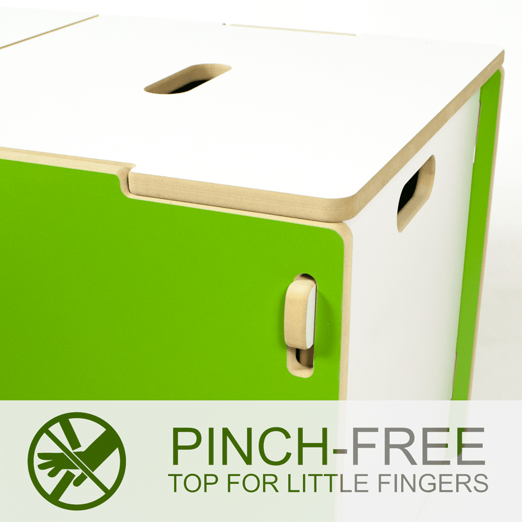 Modern Toy Box with Pinch-Free top for little fingers