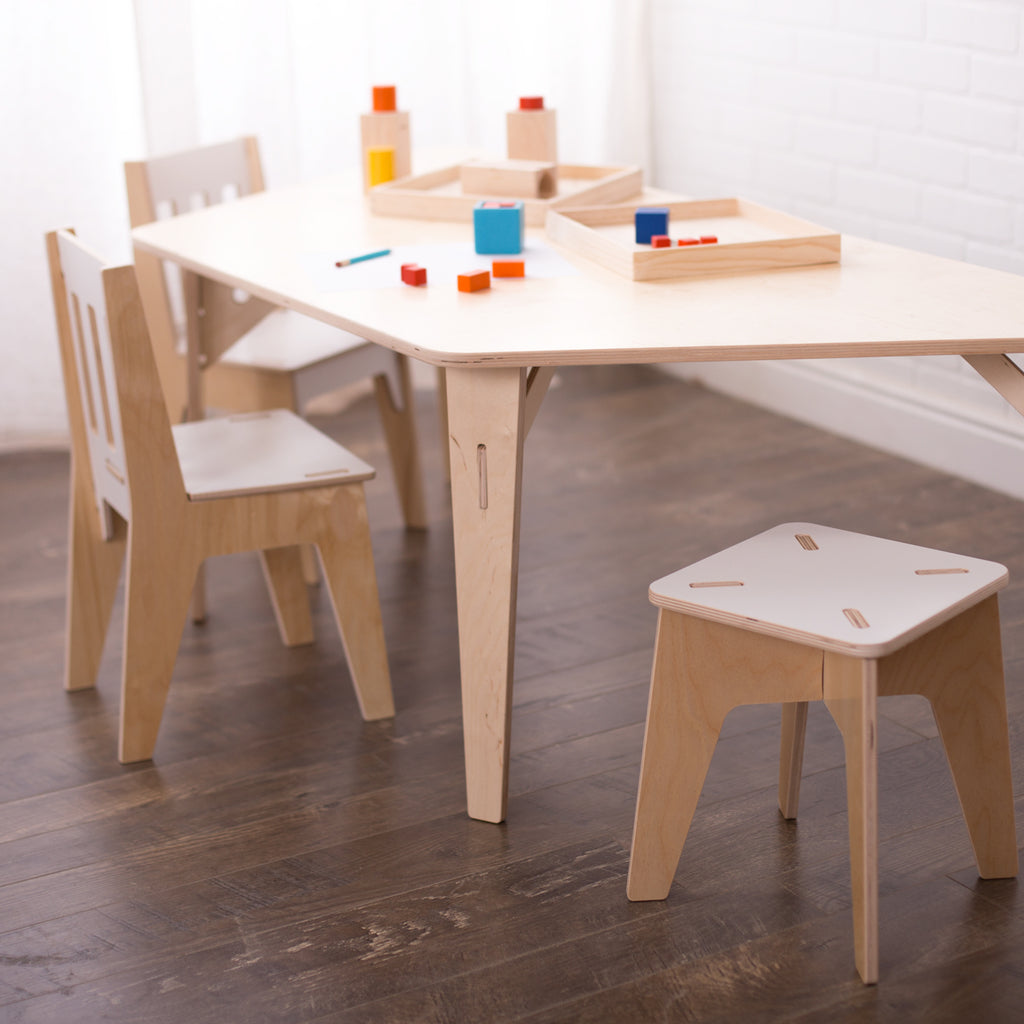 Birch wood adjustable montessori trapezoid table for projects and collaboration sprout