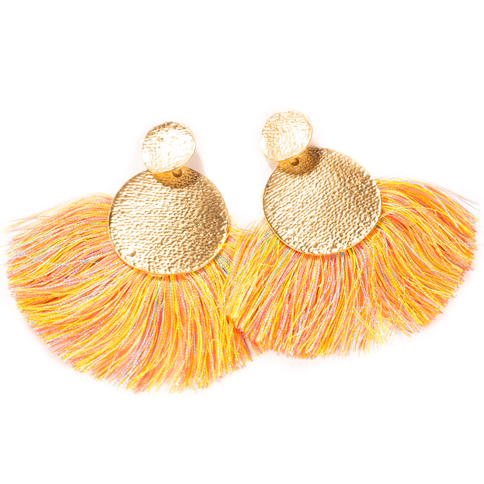 Tassel Statement Earrings -  Yellow/Pink