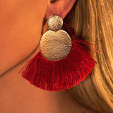 Tassel Statement Earrings - Red