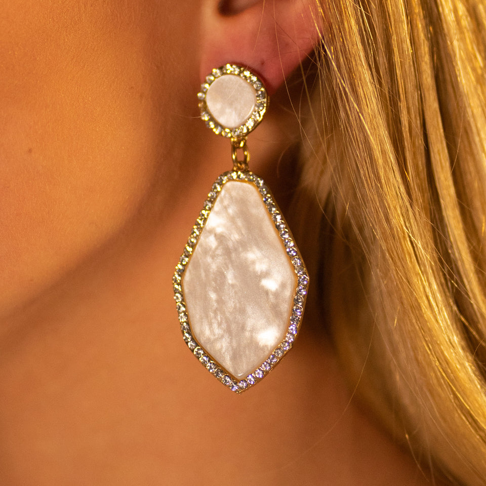 Teardrop Earrings - White