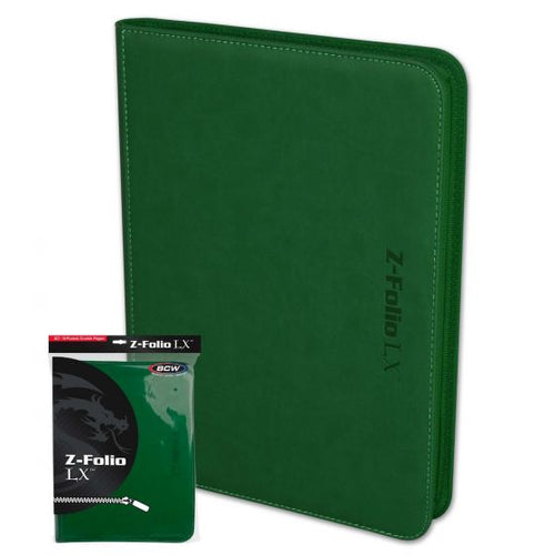 BCW Zipper Folio 9 Pocket LX Green